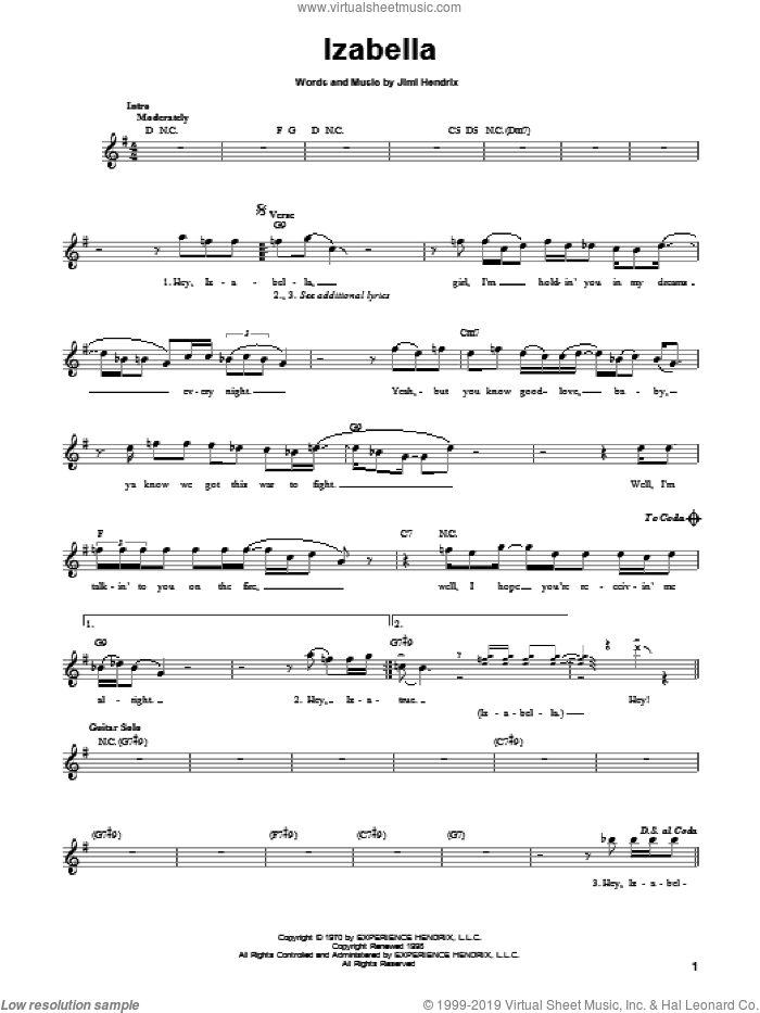 Izabella sheet music for guitar solo (chords) by Jimi Hendrix, easy guitar (chords)
