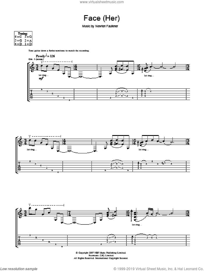 Face (Her) sheet music for guitar (tablature) by Newton Faulkner. Score Image Preview.