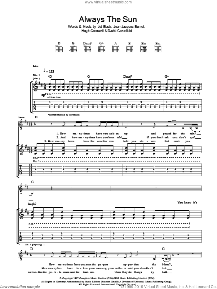 Always The Sun sheet music for guitar (tablature) by David Greenfield, The Stranglers and Jet Black. Score Image Preview.