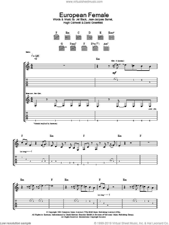 European Female sheet music for guitar (tablature) by David Greenfield, The Stranglers and Jet Black. Score Image Preview.