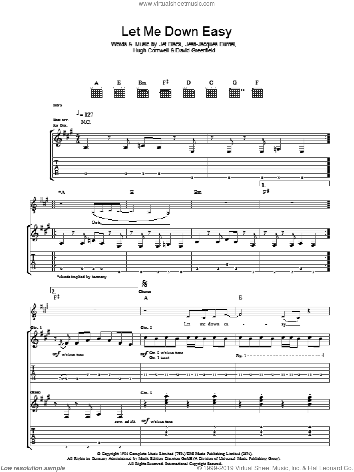 Let Me Down Easy sheet music for guitar (tablature) by The Stranglers, David Greenfield, Hugh Cornwell, Jean-Jacques Burnel and Jet Black, intermediate skill level