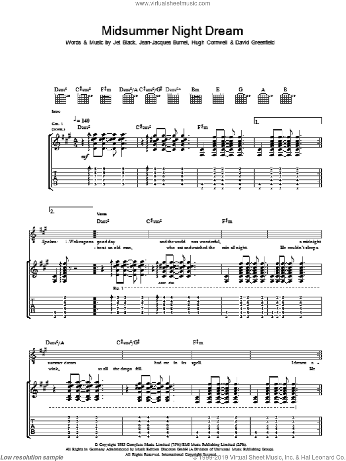 Midnight Summer Dream sheet music for guitar (tablature) by David Greenfield, The Stranglers and Jet Black. Score Image Preview.