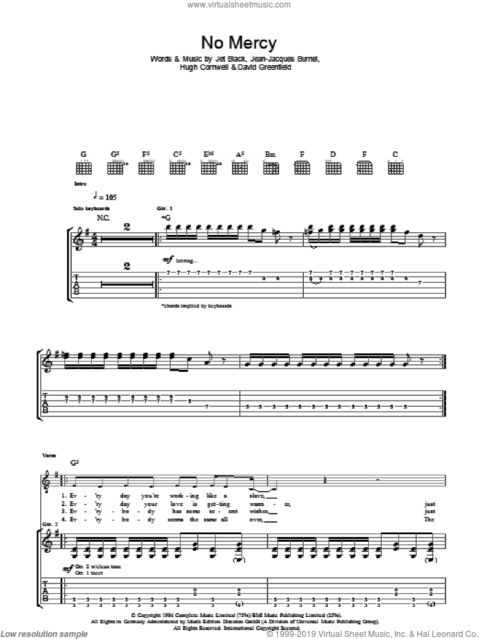 No Mercy sheet music for guitar (tablature) by David Greenfield, The Stranglers and Jet Black