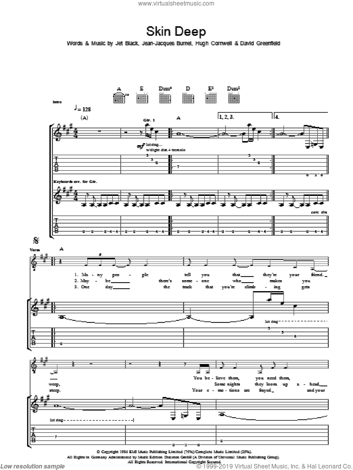 Skin Deep sheet music for guitar (tablature) by The Stranglers, intermediate. Score Image Preview.