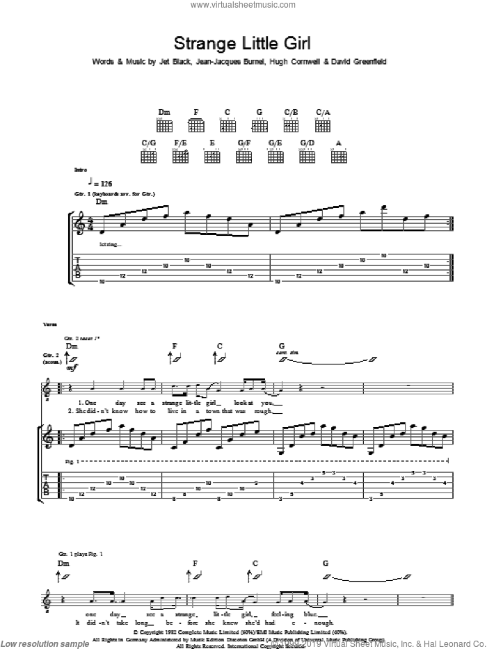 Strange Little Girl sheet music for guitar (tablature) by The Stranglers, intermediate guitar (tablature). Score Image Preview.