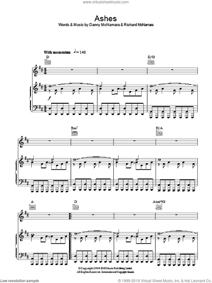Ashes sheet music for voice, piano or guitar by Danny McNamara, Embrace and Richard McNamara. Score Image Preview.