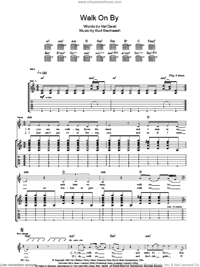 Walk On By sheet music for guitar (tablature) by Burt Bacharach