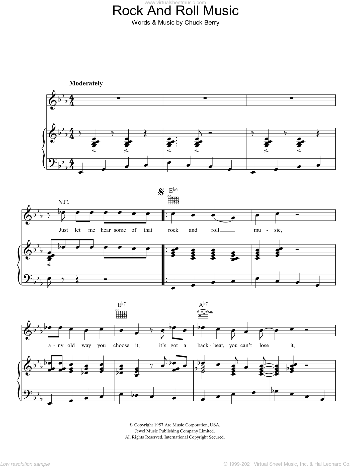 Rock And Roll Music sheet music for voice, piano or guitar by Chuck Berry. Score Image Preview.