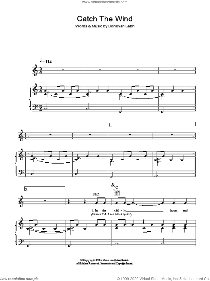 Catch The Wind sheet music for voice, piano or guitar by Walter Donovan and Donovan Leitch, intermediate skill level