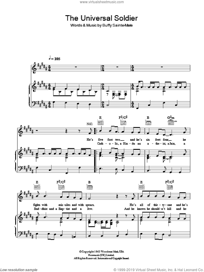 The Universal Soldier sheet music for voice, piano or guitar by Buffy Sainte-Marie, intermediate