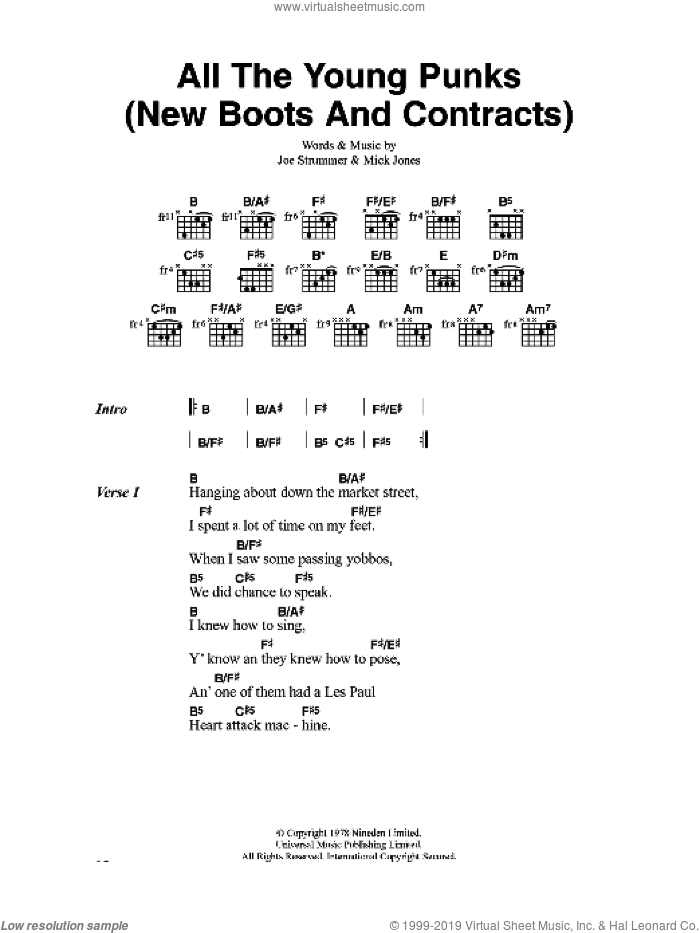 All The Young Punks (New Boots And Contracts) sheet music for guitar (chords) by Joe Strummer
