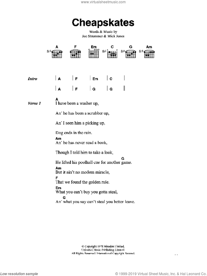 Cheapskates sheet music for guitar (chords) by The Clash, Joe Strummer and Mick Jones, intermediate. Score Image Preview.