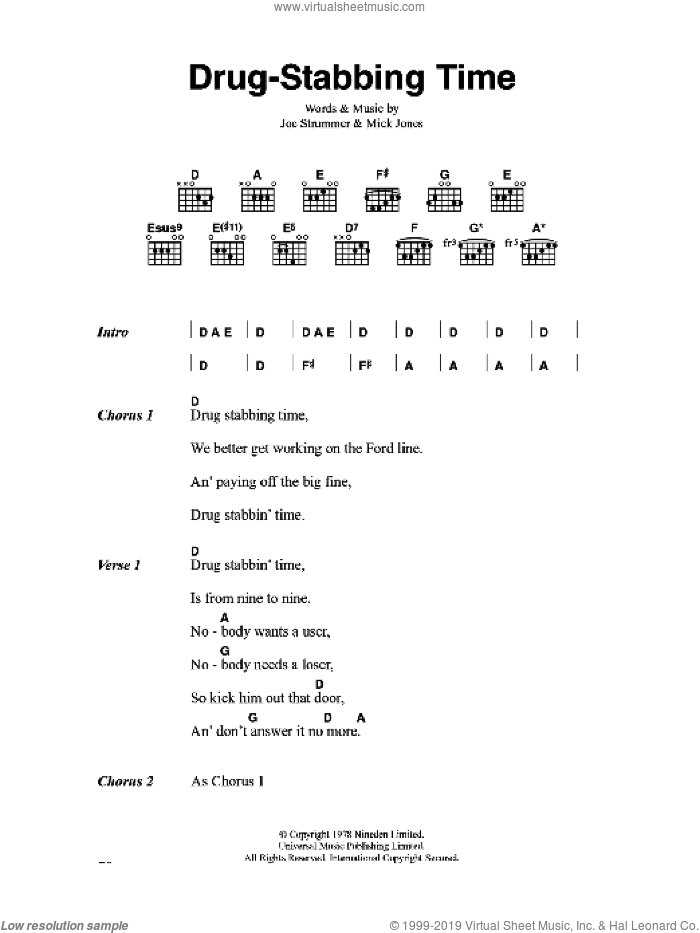 Drug-Stabbing Time sheet music for guitar (chords) by Joe Strummer, The Clash and Mick Jones. Score Image Preview.