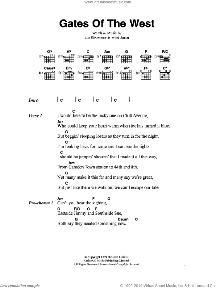 Gates Of The West sheet music for guitar (chords) by The Clash and Mick Jones. Score Image Preview.