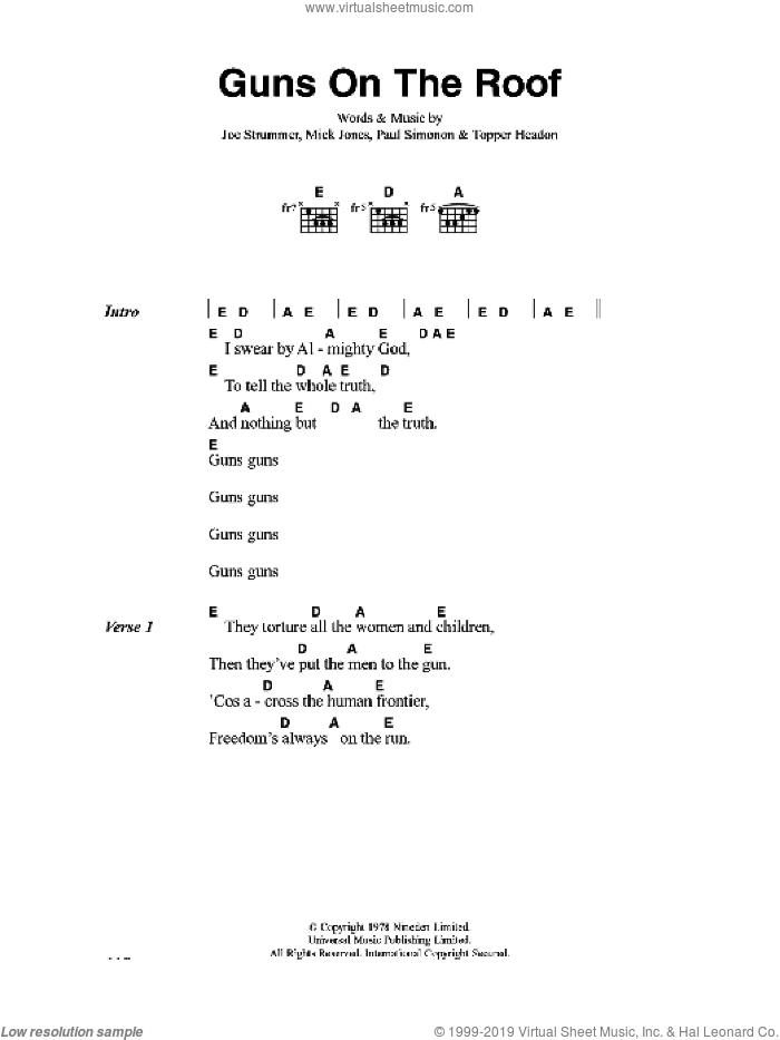 Guns On The Roof sheet music for guitar (chords) by The Clash, Joe Strummer, Mick Jones, Paul Simonon and Topper Headon, intermediate. Score Image Preview.