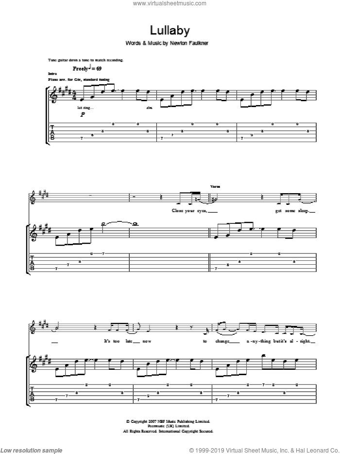 Lullaby sheet music for guitar (tablature) by Newton Faulkner. Score Image Preview.