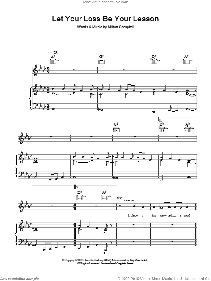 Let Your Loss Be Your Lesson sheet music for voice, piano or guitar by Milton Campbell