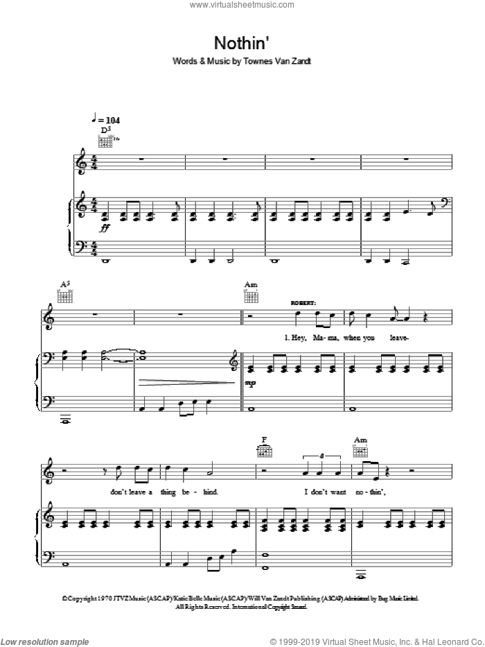 Nothin' sheet music for voice, piano or guitar by Robert Plant & Alison Krauss, Alison Krauss, Robert Plant and Townes Van Zandt, intermediate skill level