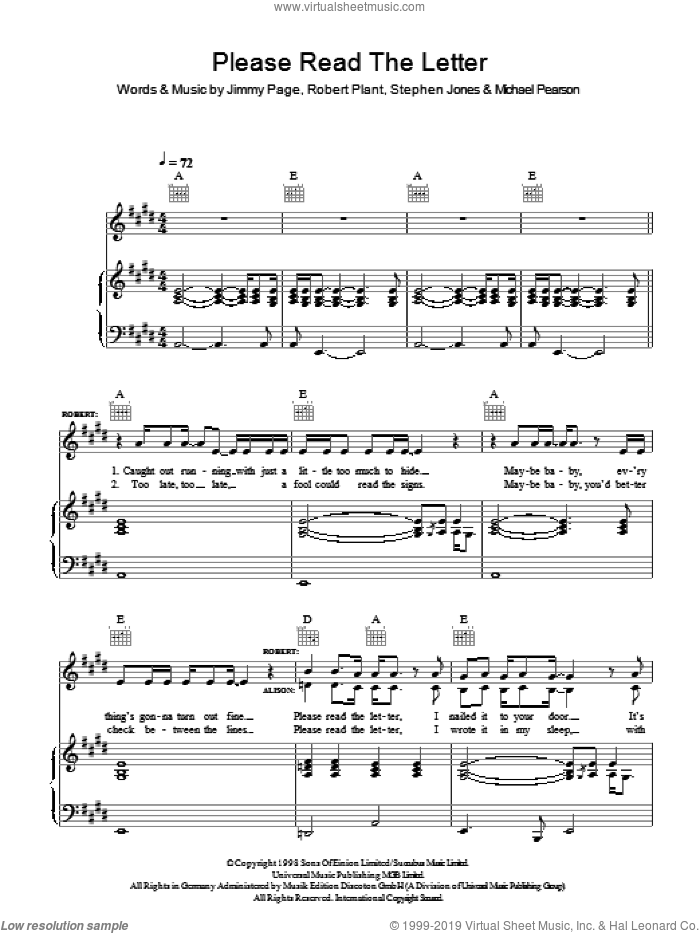 Please Read The Letter sheet music for voice, piano or guitar by Robert Plant & Alison Krauss, Alison Krauss, Robert Plant, Jimmy Page, Michael Pearson and Steve Jones, intermediate. Score Image Preview.