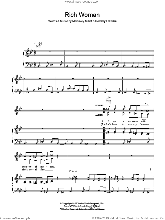 Rich Woman sheet music for voice, piano or guitar by McKinley Millet, Alison Krauss and Robert Plant. Score Image Preview.