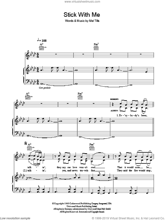 Stick With Me Baby sheet music for voice, piano or guitar by Mel Tillis, Alison Krauss and Robert Plant. Score Image Preview.