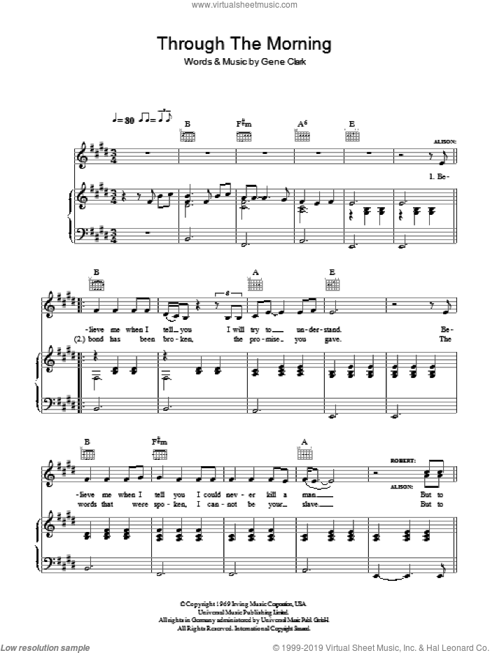 Through The Morning, Through The Night sheet music for voice, piano or guitar by Robert Plant & Alison Krauss, Alison Krauss, Robert Plant and Gene Clark, intermediate skill level