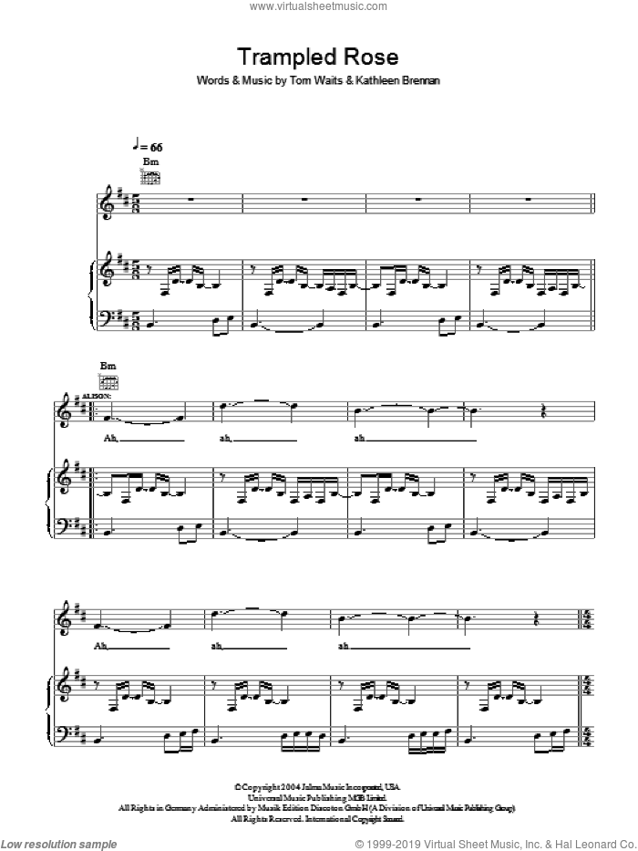 Trampled Rose sheet music for voice, piano or guitar by Tom Waits, Alison Krauss, Robert Plant and Kathleen Brennan. Score Image Preview.