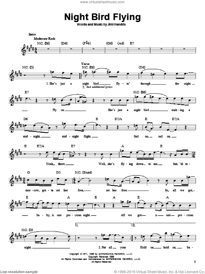 Night Bird Flying sheet music for guitar solo (chords) by Jimi Hendrix. Score Image Preview.