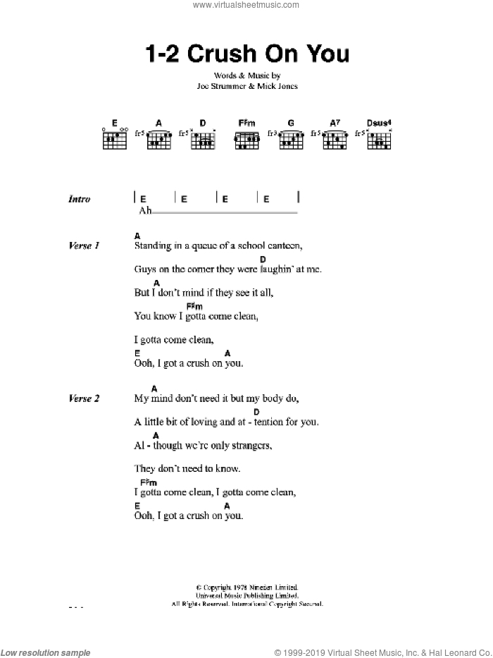 1-2 Crush On You sheet music for guitar (chords) by The Clash, Joe Strummer and Mick Jones, intermediate skill level