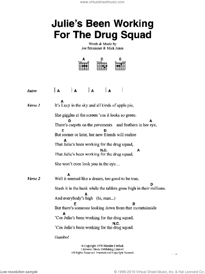 Julie's Been Working For The Drug Squad sheet music for guitar (chords) by The Clash, Joe Strummer and Mick Jones, intermediate. Score Image Preview.