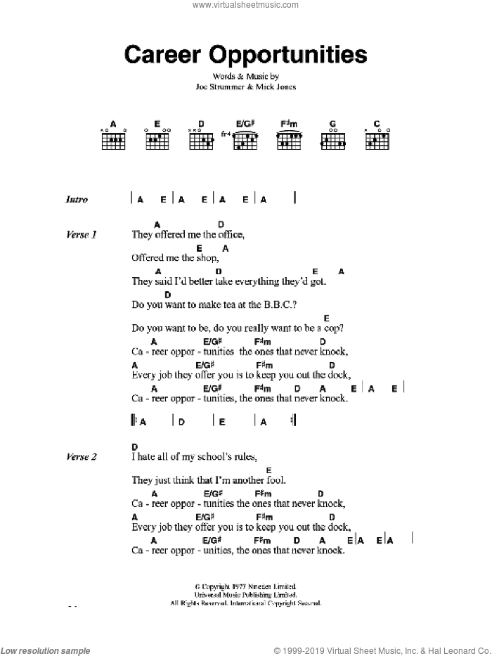 Guitar guitar chords on sheet music : Strummer - Career Opportunities sheet music for guitar (chords)