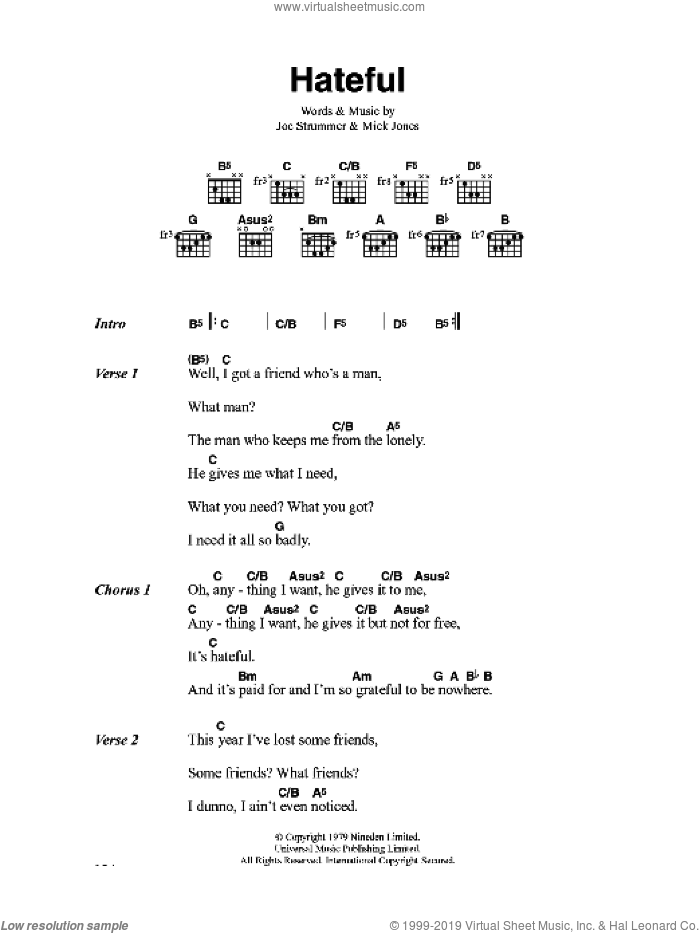 Hateful sheet music for guitar (chords) by The Clash and Mick Jones, intermediate. Score Image Preview.