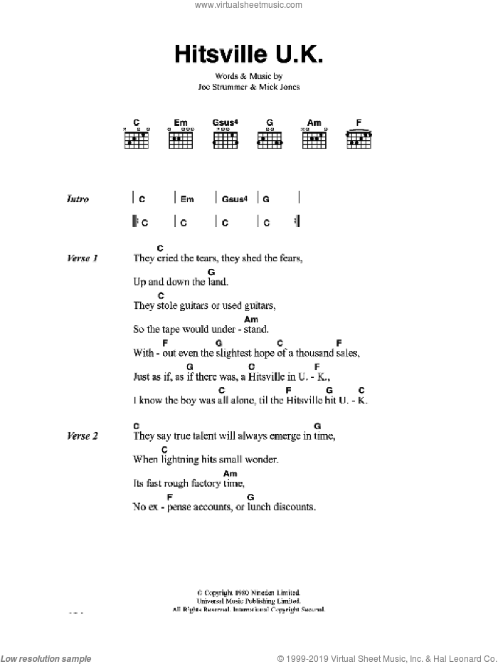 Hitsville U.K. sheet music for guitar (chords) by The Clash, Joe Strummer and Mick Jones, intermediate skill level