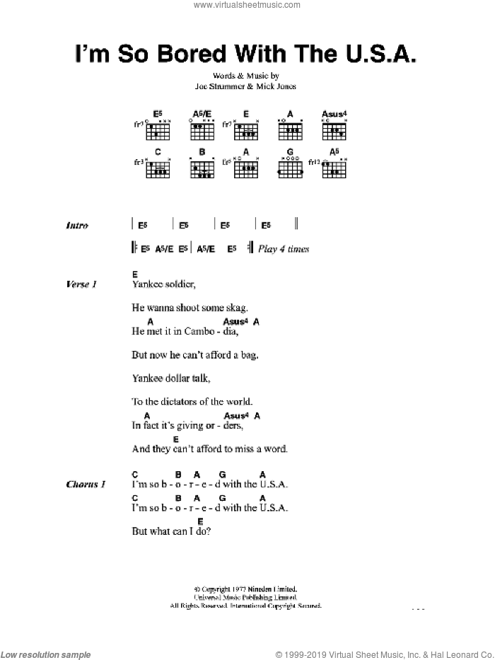 I'm So Bored With The U.S.A. sheet music for guitar (chords) by Joe Strummer, The Clash and Mick Jones. Score Image Preview.