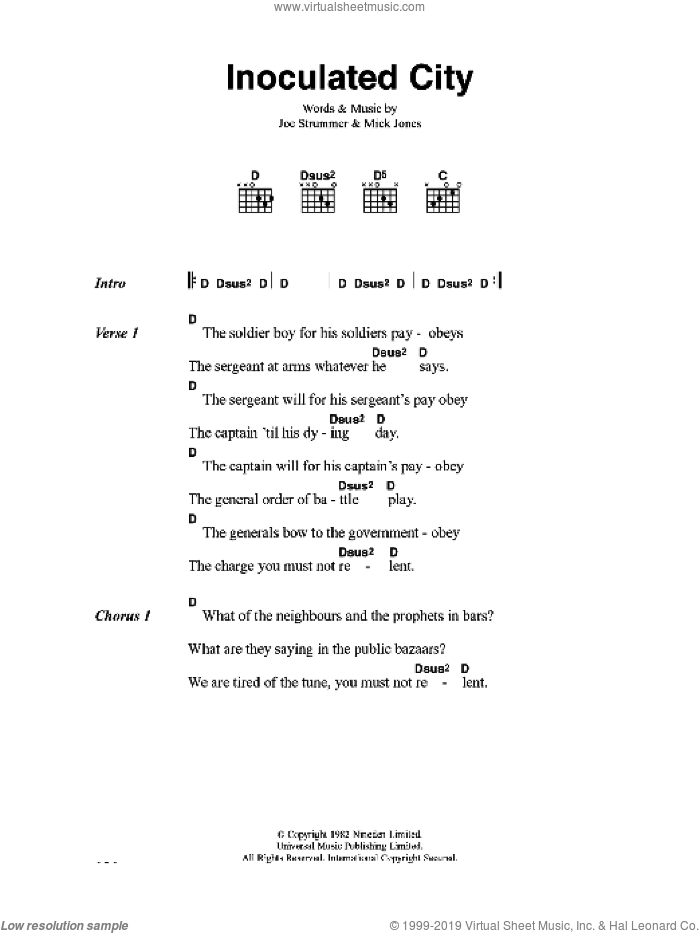 Inoculated City sheet music for guitar (chords) by Joe Strummer