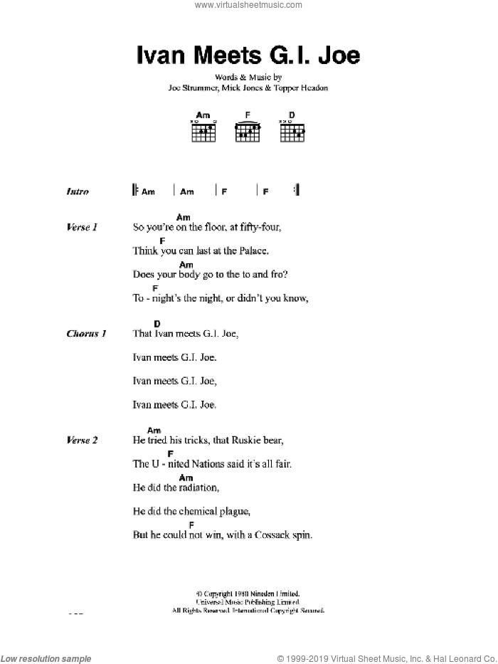 Ivan Meets G.I. Joe sheet music for guitar (chords) by The Clash, Joe Strummer, Mick Jones and Topper Headon, intermediate skill level