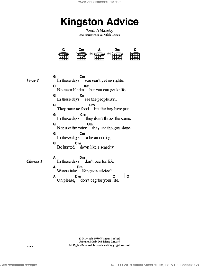 Kingston Advice sheet music for guitar (chords) by The Clash and Mick Jones, intermediate guitar (chords). Score Image Preview.