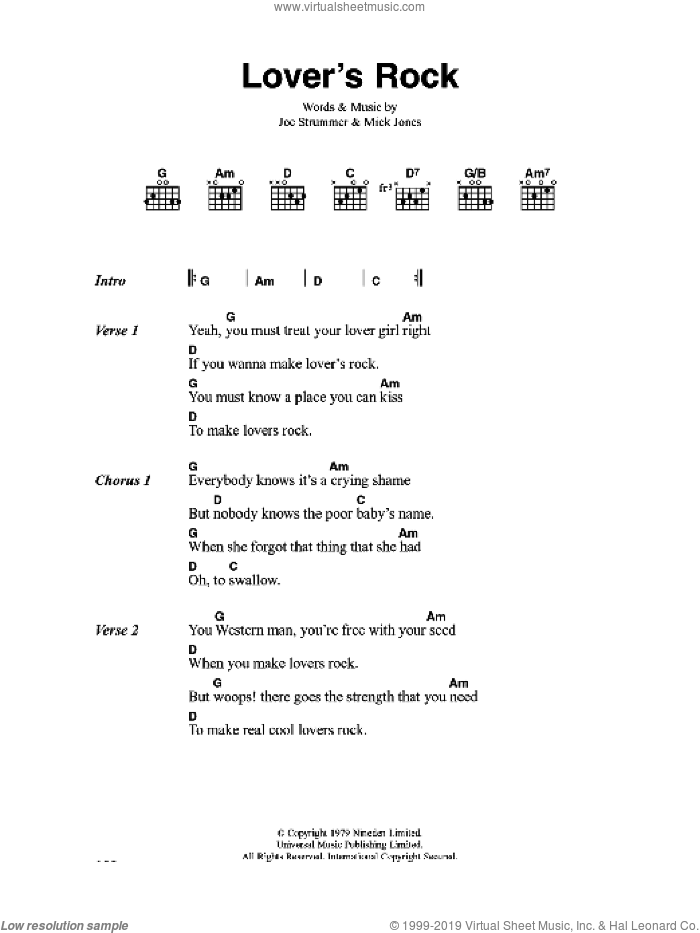 Lover's Rock sheet music for guitar (chords) by The Clash and Mick Jones. Score Image Preview.