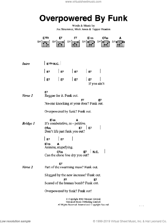 Clash - Overpowered By Funk sheet music for guitar (chords) [PDF]
