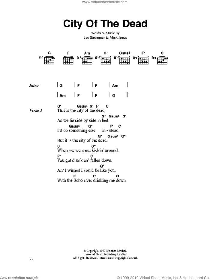 City Of The Dead sheet music for guitar (chords) by The Clash, Joe Strummer and Mick Jones, intermediate. Score Image Preview.