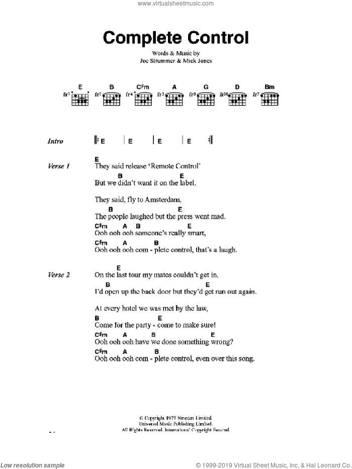 Complete Control sheet music for guitar (chords) by Joe Strummer