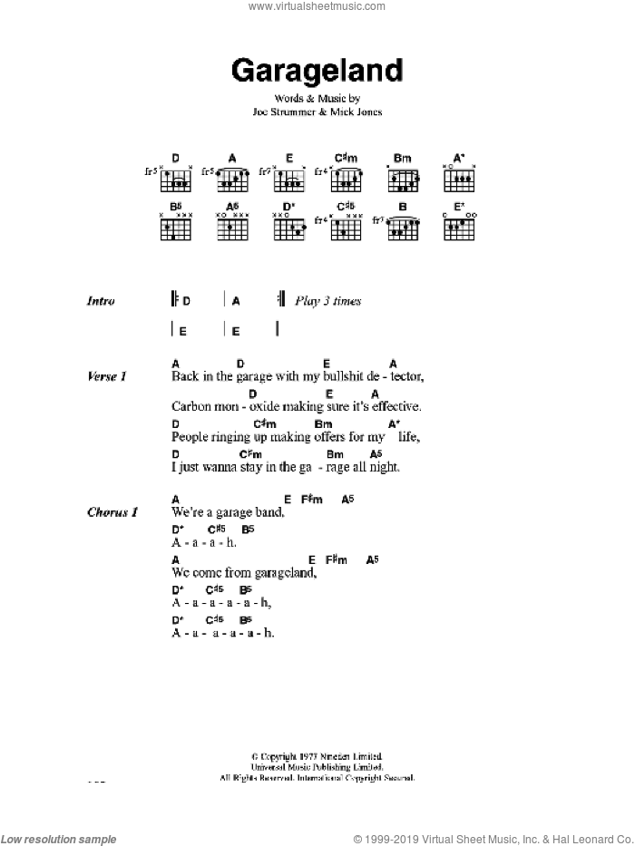Garageland sheet music for guitar (chords) by The Clash, Joe Strummer and Mick Jones, intermediate. Score Image Preview.