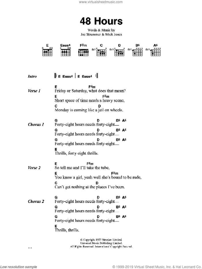 48 Hours sheet music for guitar (chords) by The Clash, Joe Strummer and Mick Jones, intermediate