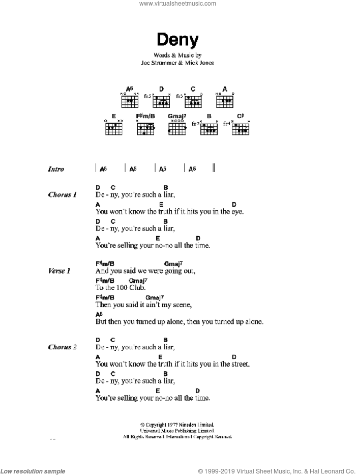 Deny sheet music for guitar (chords) by The Clash and Mick Jones, intermediate guitar (chords). Score Image Preview.