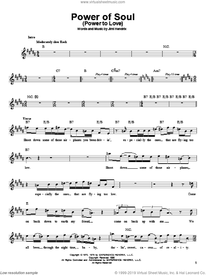 Power Of Soul (Power To Love) sheet music for guitar solo (chords) by Jimi Hendrix, easy guitar (chords)