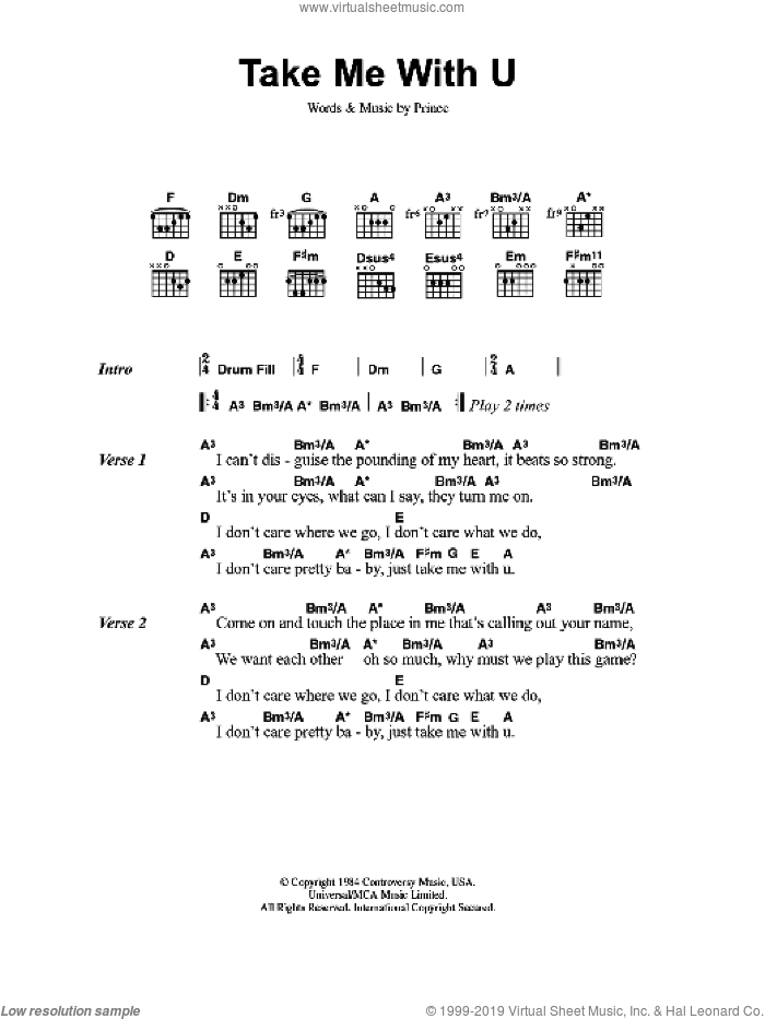 Take Me With U sheet music for guitar (chords) by Prince