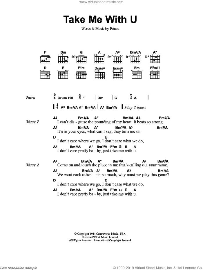 Prince Take Me With U Sheet Music For Guitar Chords Pdf