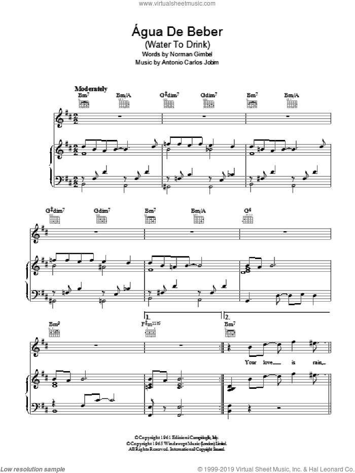Agua De Beber (Drinking Water) sheet music for voice, piano or guitar by Norman Gimbel and Antonio Carlos Jobim. Score Image Preview.