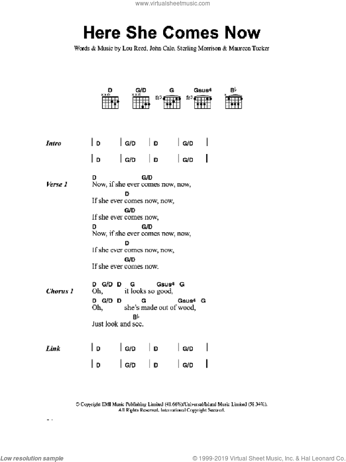 Here She Comes Now sheet music for guitar (chords) by The Velvet Underground, John Cale, Lou Reed, Maureen Tucker and Sterling Morrison, intermediate skill level