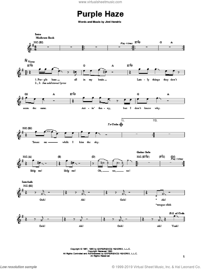 Purple Haze sheet music for guitar solo (chords) by Jimi Hendrix, easy guitar (chords). Score Image Preview.